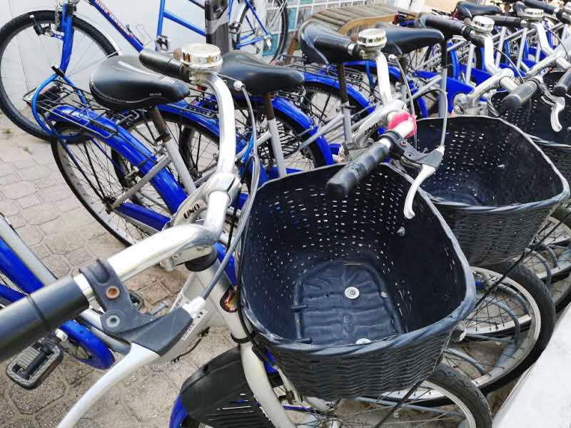 Dettaglio cestino bicicletta Hotel Bolivar